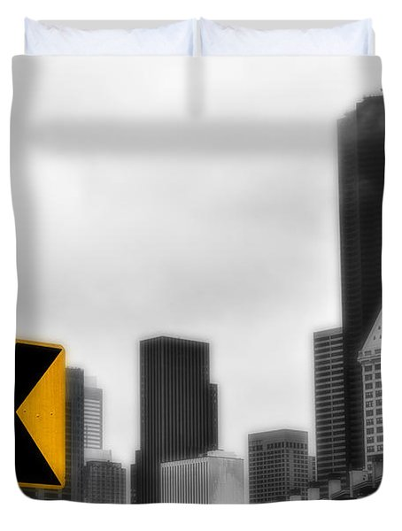 Stay Left Of Downtown Seattle Soft Glow Duvet Cover
