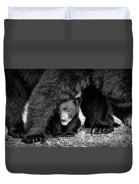 Staying Close-bw Duvet Cover