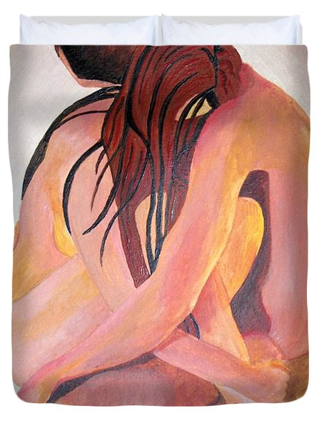 Duvet Cover featuring the painting Staying In Touch by Tracey Harrington-Simpson