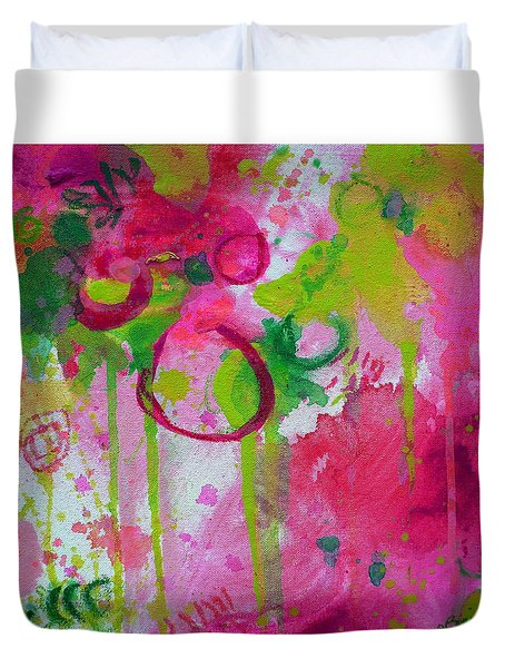 Duvet Cover featuring the painting Steal My Breath by Tracy Bonin
