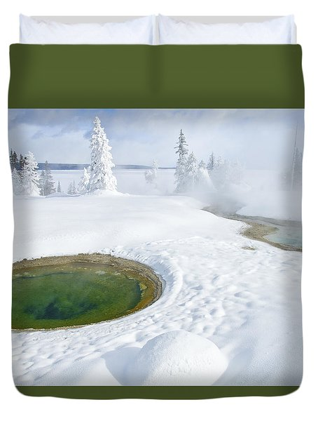 Duvet Cover featuring the photograph Steam And Snow by Gary Lengyel