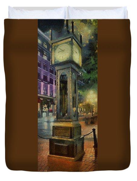Duvet Cover featuring the digital art Steam Clock Gastown by Jim  Hatch