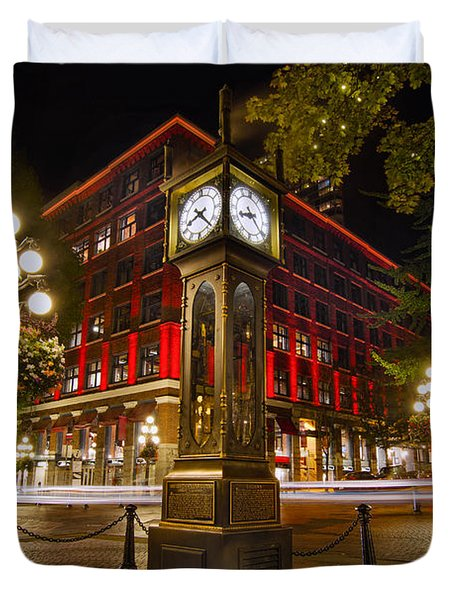 Steam Clock In Historic Gastown Vancouver Bc Duvet Cover by David Gn