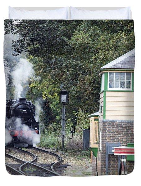 Steam Engine Approaching Alton Duvet Cover