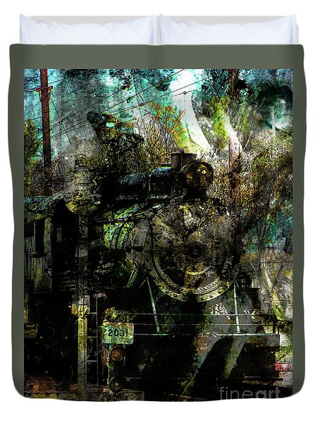 Steam Engine At Bay Duvet Cover by Robert Ball