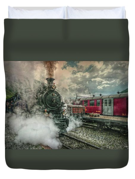 Duvet Cover featuring the photograph Steam Engine by Hanny Heim