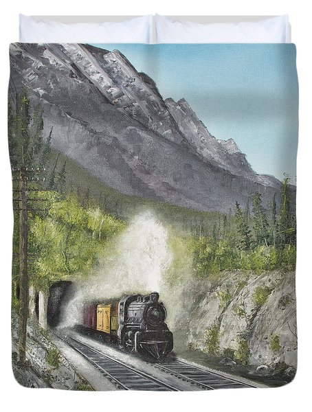Duvet Cover featuring the photograph Steam Engine by John Black