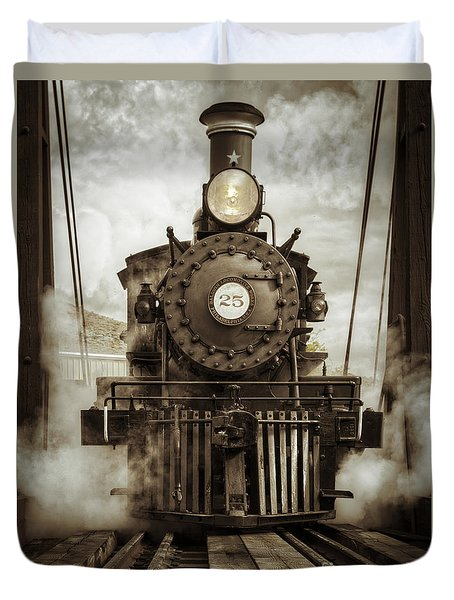 Duvet Cover featuring the photograph Steam Locomotive 2 by Mitch Shindelbower