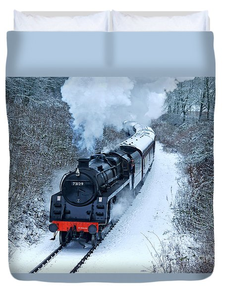 Steam Locomotive 73129 In Snow Duvet Cover