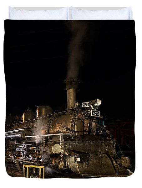 Duvet Cover featuring the photograph Locomotive And Coal Tender On A Turntable Of The Durango And Silverton Narrow Gauge Railroad by Carol M Highsmith