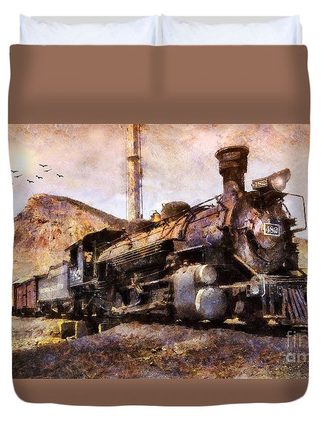 Duvet Cover featuring the digital art Steam Locomotive by Ian Mitchell