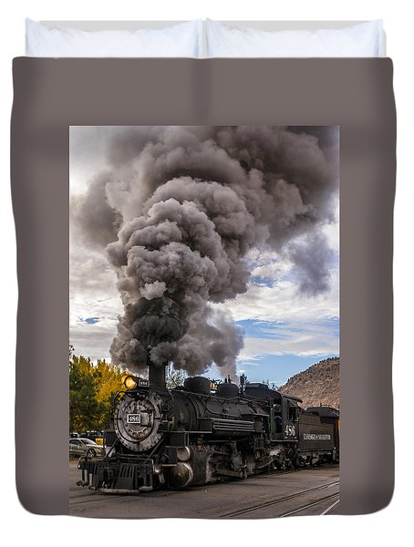 Duvet Cover featuring the photograph Steam Locomotive by Jerry Cahill