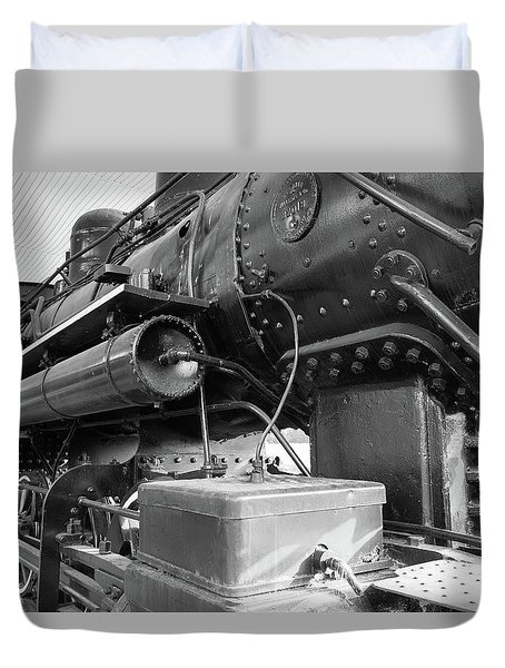 Duvet Cover featuring the photograph Steam Locomotive Side View by Doug Camara