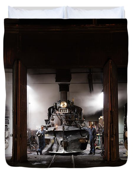 Duvet Cover featuring the photograph Steam Locomotives In The Roundhouse Of The Durango And Silverton Narrow Gauge Railroad In Durango by Carol M Highsmith
