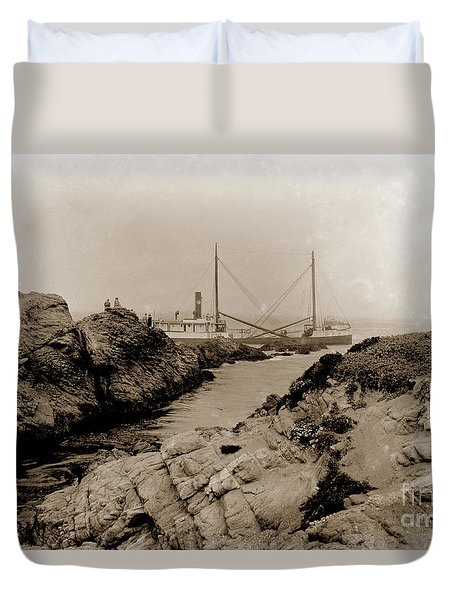 Steam Schooner S S J. B. Stetson, Ran Aground At Cypress Point, Sep. 1934 Duvet Cover by California Views Mr Pat Hathaway Archives