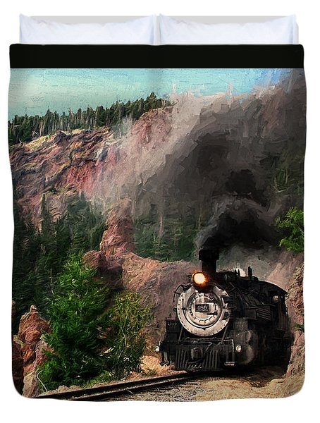 Duvet Cover featuring the photograph Steam Through The Rock Formations by Ken Smith