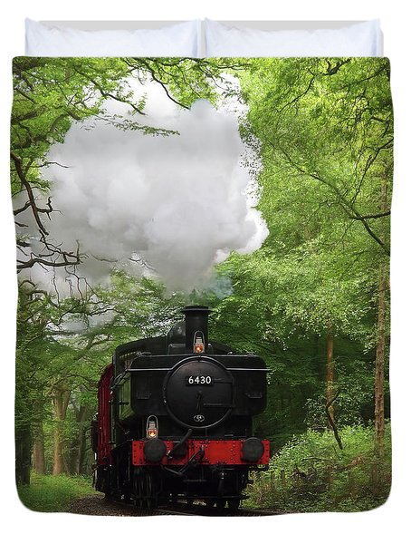 Steam Train Approaching In The Forest Duvet Cover by Gill Billington