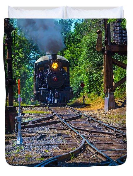 Steam Train Coming Down The Tracks Duvet Cover
