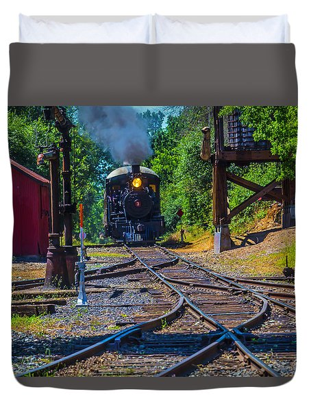 Steam Train Coming Down The Tracks Duvet Cover