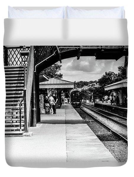 Steam Train In The Station Duvet Cover