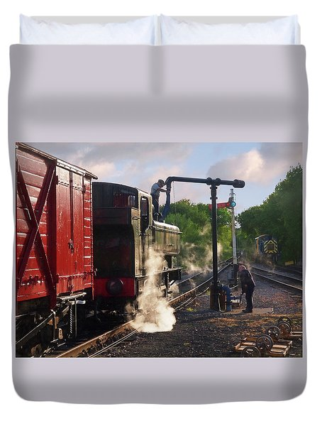 Steam Train Taking On Water Duvet Cover by Gill Billington