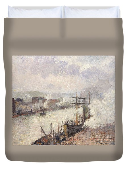 Steamboats In The Port Of Rouen, 1896  Duvet Cover