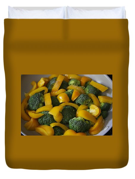 Duvet Cover featuring the photograph Steamed Broccoli And Peppers by Vadim Levin
