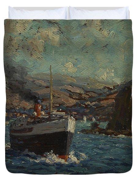 Steamer Leaving Avalon, Catalina Duvet Cover