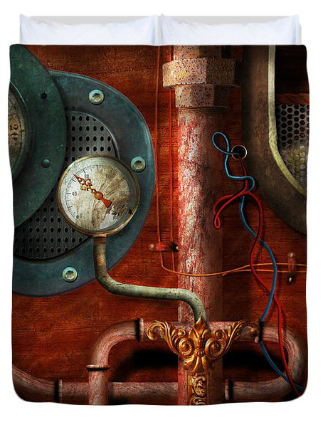 Steampunk - Controls Duvet Cover by Mike Savad