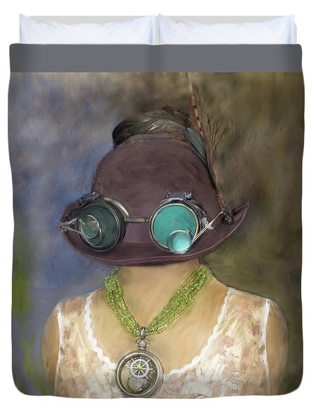 Steampunk Beauty With Hat And Goggles - Square Duvet Cover