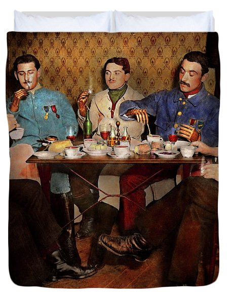 Duvet Cover featuring the photograph Steampunk - Bionic Three Having Tea 1917 by Mike Savad