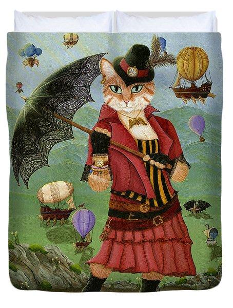 Steampunk Cat Gal - Victorian Cat Duvet Cover