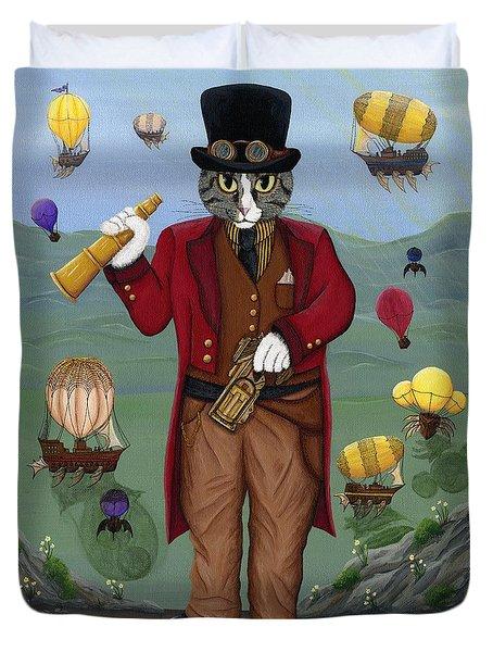 Steampunk Cat Guy - Victorian Cat Duvet Cover