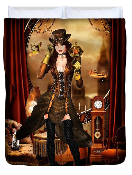 Steampunk Girl Duvet Cover