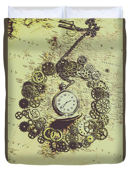 Steampunk Travel Map Duvet Cover