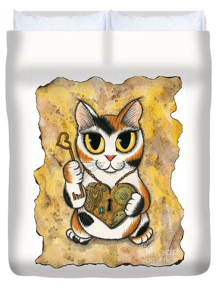 Steampunk Valentine Cat Duvet Cover