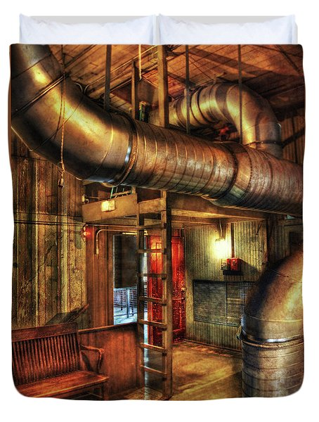 Steampunk - Where The Pipes Go Duvet Cover by Mike Savad