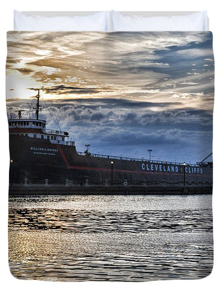 Duvet Cover featuring the photograph Steamship William G. Mather - 1 by Mark Madere