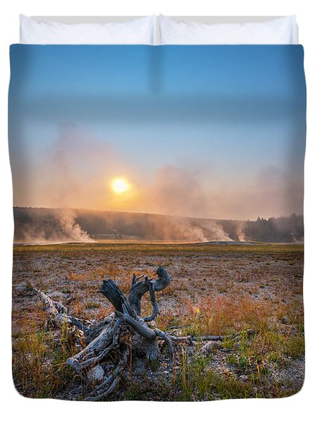 Steamy Sunrise In Yellowstone Duvet Cover