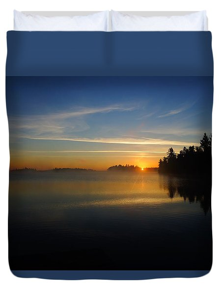 Duvet Cover featuring the photograph Steamy Sunrise by Steven Clipperton
