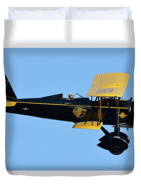 Stearman 4e Junior Speedmail Nc663k Chino California April 29 2016 Duvet Cover by Brian Lockett