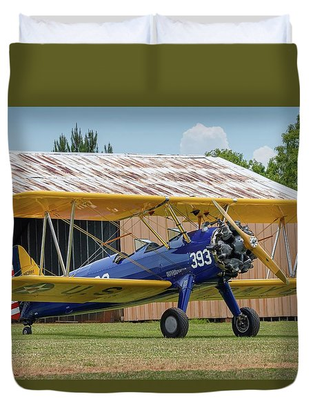 Stearman And Old Hangar Duvet Cover
