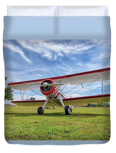 Stearman On Grass Duvet Cover