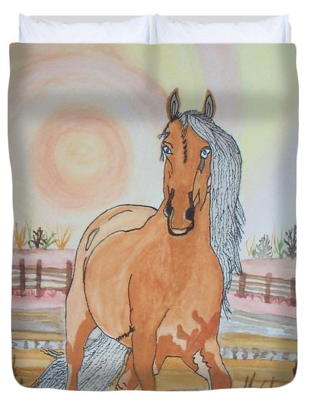 Stech Of A Horse Duvet Cover by Connie Valasco