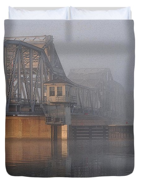 Steel Bridge In Fog Duvet Cover