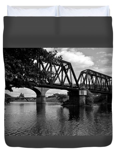 Duvet Cover featuring the photograph Steel City by Michael Dorn