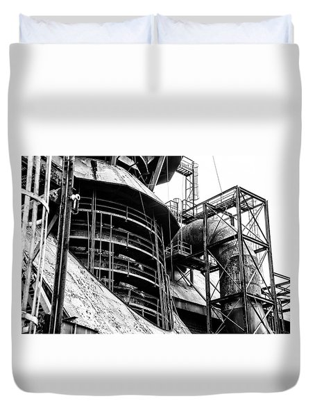 Steel Mill In Black And White - Bethlehem Duvet Cover by Bill Cannon