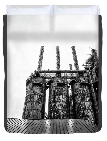 Steel Stacks - The Bethehem Steel Mill In Black And White Duvet Cover by Bill Cannon