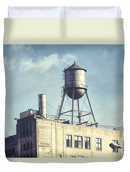 Duvet Cover featuring the photograph Steel Water Tower, Brooklyn New York by Gary Heller