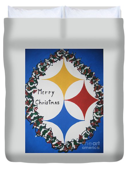 Steelers Christmas Card Duvet Cover by Jeffrey Koss